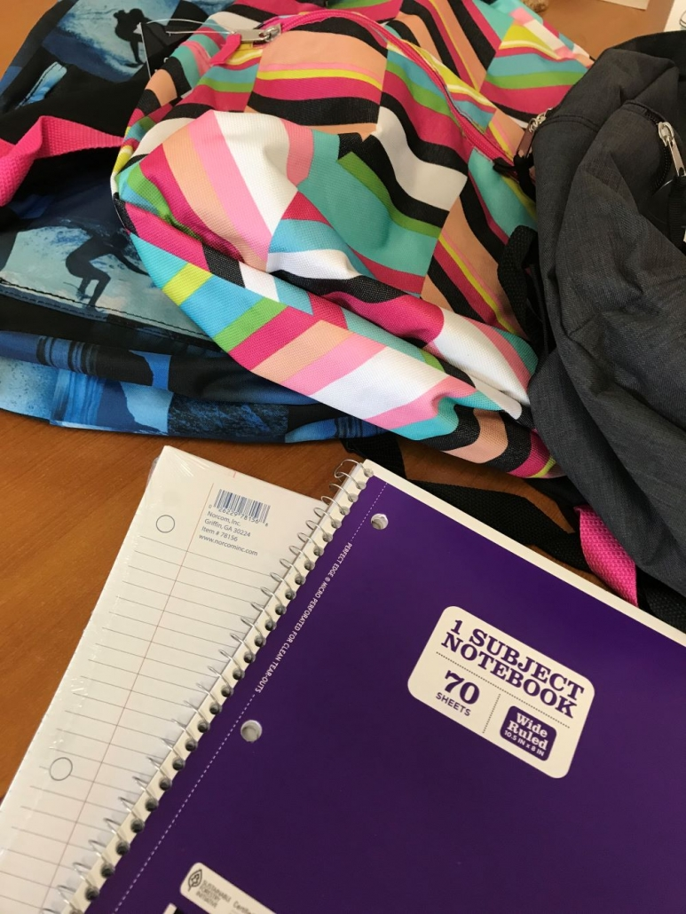 school kit bag with notebook