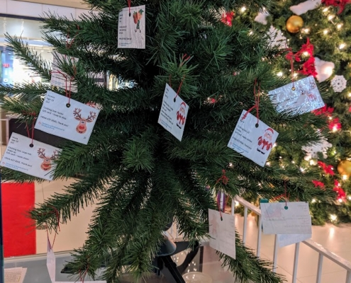 Small Christmas Tree with names of children as ornaments